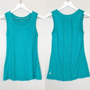 Lululemon Blue Workout Tank Top Ruffled Back